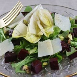 Tricolore Salad of Endive, Beet, and Arugula, Pantzaria Salata Recipe - An elegant salad of beets, yellow endive, pistachios and arugula makes for a dazzling starter to any meal.