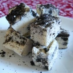 World's Best Oreo(R) Fudge Recipe - Chocolate sandwich cookies are crumbled and folded into a white chocolate fudge for a sweet treat during the holiday season.