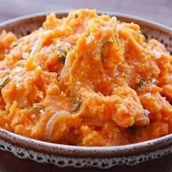 Sweet Potatoes with Caramelized Onions Recipe - Baked sweet potatoes are topped with slow cooked caramelized onions and red bell peppers. Serve with a dollop of sour cream or plain yogurt.