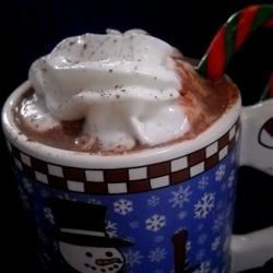Eggnog Hot Chocolate Recipe - Creamy eggnog is combined with rich, dark hot chocolate and spiked with coffee liqueur.