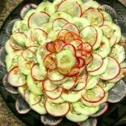 Easy cucumber & radish salad flower. Impressive, tasty, and healthy