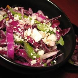 Red Cabbage-Asparagus Salad with Tahini Dressing