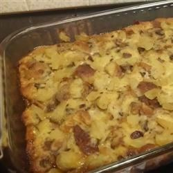 Apple-Raisin Breakfast Bread Pudding Recipe - You might call this cinnamon-apple creation baked French toast, you might call it breakfast bread pudding, but everyone will agree it is simple, sweet, and delicious.