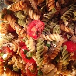 Greek Pasta Salad III Recipe - Cool pasta salad with the Greek taste of Feta to finish it off.