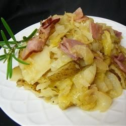 Skillet Ham, Cabbage and Potatoes Recipe - Old fashioned one skillet meal with spiced potatoes, cabbage and ham; tasty and satisfying.  Serve with green beans.