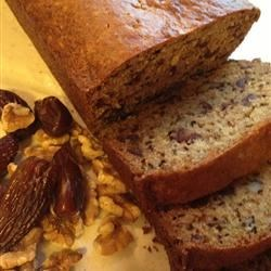 Date Orange Bread Recipe - Orange juice and zest add a citrus accent to this fine quick bread, heavy with dates and nuts.
