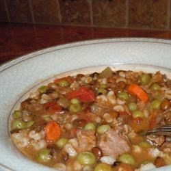 Beef and Lentil Soup Recipe - Chunks of beef, lentils, and a mix of vegetables comprise this hearty, vegetable soup.  I make a batch of this and warm it up all week.
