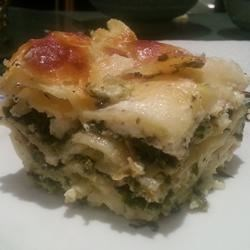 Pesto Lasagna Recipe - Scrumptious lasagna with basil pesto, spinach and plenty of bubbly cheese.
