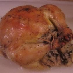 Cornish Game Hens with Rice Stuffing Recipe - Attractive Cornish game hens are stuffed with a delicious wild rice mixture!