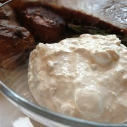 Horseradish Sauce II Recipe - This horseradish sauce, made with cream and blue cheese, goes will with roast beef and lamb.