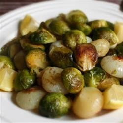 Chef John's Roasted Brussels Sprouts Recipe - Brussels sprouts and cipollini onions are roasted to perfection in this simple recipe.