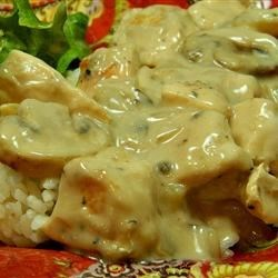 Creamy Chicken Marsala Recipe - Cream of mushroom soup and Marsala wine combine into a sauce for chicken, mushrooms, and onion in this simple dinner idea.