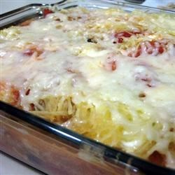 I've Lost My Noodle Vegetarian Lasagna Recipe - This recipe replaces traditional lasagna noodles with spaghetti squash for a delicious vegetarian dish.