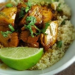 Sweet Chili Lime Chicken with Cilantro Couscous Recipe - Chicken breast cubes simmered in a sweet and spicy lime-soy glaze are served with cilantro couscous in this quick and easy supper.