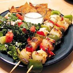 Marinated Greek Chicken Kabobs with Greek Salad, Pita Wedges and Tzatziki Sauce