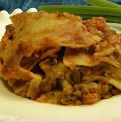 Lazy Lasagna I Recipe - Uncooked lasagna noodles add to the ease of preparation for this comforting casserole. A meat-filled tomato sauce dresses layers of sour cream, Parmesan, mozzarella and cottage cheeses. Baking cooks the noodles!