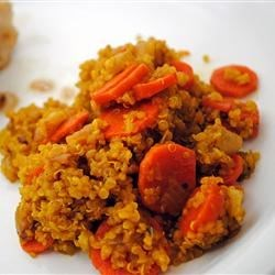 Simple Savory Quinoa Recipe - This savory, vegetarian side dish combines quinoa with celery, carrots, and turmeric.