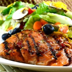 Chipotle Crusted Salmon with Triple Berry Sauce