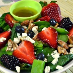 Sugar Snap Pea and Berry Salad Recipe - A delicious summer salad made with your favorite berries.