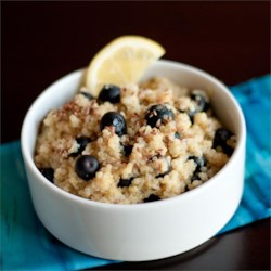 Blueberry Lemon Breakfast Quinoa Recipe - Sweet blueberries and tart lemon pair well in this quinoa alternative to oatmeal for a warm breakfast cereal.