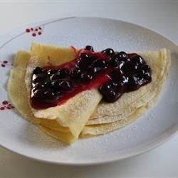 Basic crepes with blueberry sauce