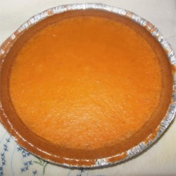 Sweet Potato Pie III Recipe -  The delicious filling for this easy-to-make pie is nicely buttery and spicy. Boiled sweet potatoes, butter, sugar, salt, eggs, cinnamon and allspice are mashed and blended together, and then poured into a prepared pastry crust. An hour later, the pie is ready to serve with whipped cream.