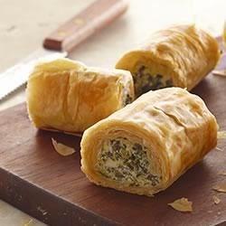 Make-Ahead Spinach Phyllo Roll-Ups from PHILADELPHIA(R) Recipe - A delicious mixture of cream cheese, chopped spinach, and feta cheese is rolled up in phyllo sheets and baked for a delicious appetizer that can be prepared ahead or even frozen.