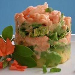 Shrimp and Avocado Salad Recipe - A lovely baby shrimp and chive salad tucked into avocado halves. The combination of flavors and textures - especially the creamy mayonnaise dressing spiked with Worcestershire and chili sauce  - is sensational.