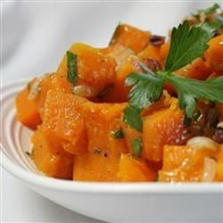 Butternut Squash with Onions and Pecans Recipe - A new twist on a squash dish!  Can be made 4 hours ahead.