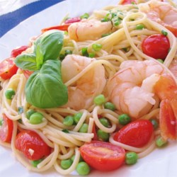 Shrimp and Sugar Snap Peas Recipe - Quick and easy pasta dish with a little bite that will make anyone look like a gourmet chef. Adjust the chili oil to your own spice level.