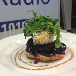 Caramelized Red Beet Tart with Seasoned Goat Cheese and Arugula
