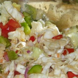 Sherry's Hot Slaw Recipe - Cayenne pepper and hot sauce spice up this slaw and lettuce salad big time. The tomatoes and bell pepper add lots of color. This yummy concoction is tossed in a sweet vinegar syrup and served immediately.