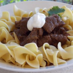 Chef John's Beef Goulash Recipe - This Hungarian-style goulash is a thick beef stew that is great served over buttered noodles and garnished with sour cream.