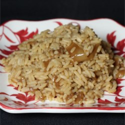 Maria's Rice Recipe - Rice is baked with French onion soup, beef broth and butter, for a rich and hearty side dish.