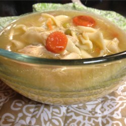 A-1 Chicken Soup Recipe - This is a basic chicken and egg noodle soup with celery, carrot and a hint of garlic.