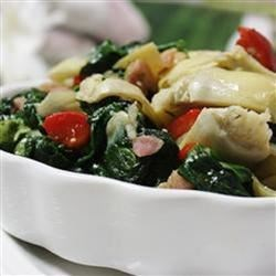 Colorful Spinach and Prosciutto Side Recipe - Great colorful side dish that's easy to make and bursting with flavor. You can also sprinkle some of your favorite Italian cheese on top when finished.