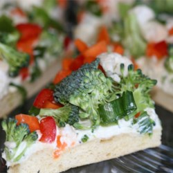 Vegetable Pizza I Recipe - Quick and easy recipe that is great at parties and showers.  You can use any combination of chopped veggies and cheeses-whatever your family likes!