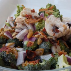 Mushroom Broccoli Salad Recipe - This classic broccoli salad is made special with the addition of sweet raisins, crunchy sunflower seeds, and smoky bacon.