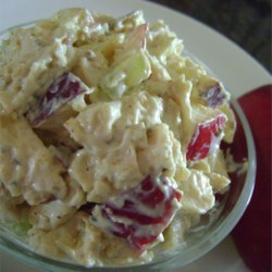 Chicken Salad with Mango Chutney Recipe - Chicken salad with an Indian-inspired twist of mango chutney and curry powder is quick and easy to prepare. Dried cranberries, raisins, or pineapple chunks can also be added.