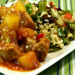 Sweet and Sour Pork Tenderloin Recipe - This sweet and sour pork tenderloin with pineapple and green onions is a lighter version of the Chinese take-out classic.