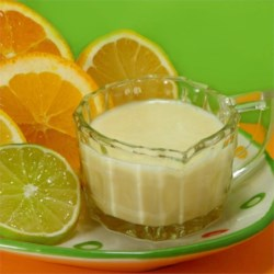Citrus Dressing  Recipe - Creamy citrus flavored dressing!   If the mixture initially turns out too thick, thin it out by adding a little half and half.