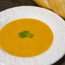 Butternut Squash Soup II Recipe - Squash, potatoes, carrots, celery, and onion cook up quickly into a thick, velvety soup that's ready in about an hour.