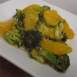 Broccoli with Mandarin Oranges Recipe - I came up with this colorful and flavorful recipe to go with my garlic chicken when I serve Chinese food. Who'd believe green and orange really go together?