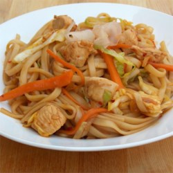 Chicken Yakisoba Recipe and Video - This traditional Japanese yakisoba noodle dish includes cabbage and chicken in a spicy sauce.