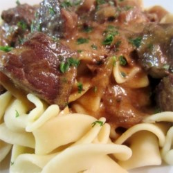 Diane's Beef Stroganoff Recipe - You don't need canned soup to make an elegant, rich beef and mushroom Stroganoff to serve over egg noodles. Plenty of simmering time will build the flavor.