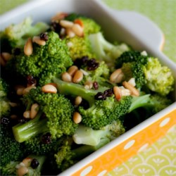 Garlic Broccoli Salad  Recipe - Toasted pine nuts add a nice crunch to this salad with lightly steamed broccoli. The dressing is made with rice wine vinegar and minced garlic.