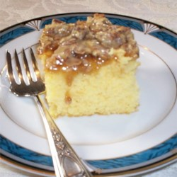Praline Cake Recipe - This store-bought cake mix is topped with a delicious home-made praline 'frosting' that caramelizes after a few minutes in the oven.