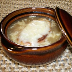 French Onion Soup X Recipe - This quicker onion soup is made with vegetable broth, and flavored with thyme and brandy.