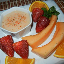 Cantaloupe Dressing Recipe - A sweet dressing is made with cantaloupe and yogurt that can be used on a fruit salad, or as a dip for fruit kabobs.