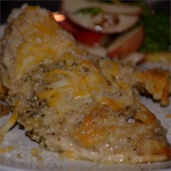 Garlic Lover's Chicken Recipe - There's plenty of garlic flavor in these very flavorful and moist chicken breasts topped with bread crumbs and cheese.